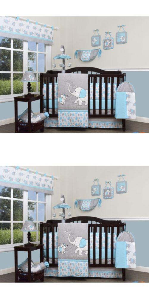 Blue Gray Elephant 13 Pcs Crib Bedding Set Baby Boy Nursery Quilt