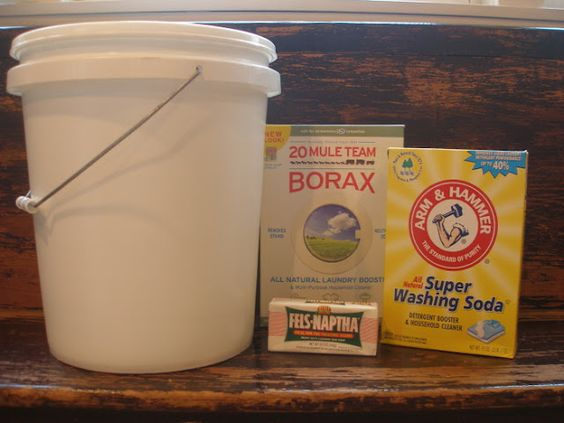 Homemade Laundry Soap (recipe from Jennifer) This recipe makes 5 gallons of concentrate which equals 10 gallons of ready-to-use laundry detergent. 1 five gallon bucket a long handled spoon an empty (used) laundry detergent container (or juice or vinegar container, clean)  hot tap water 1 Fels-Naptha Laundry Soap Bar 1 cup washing soda 1/2 cup borax Grate the laundry soap bar (I used my cheese grater) and add it to a medium sauce pot along with 4 cups of water.