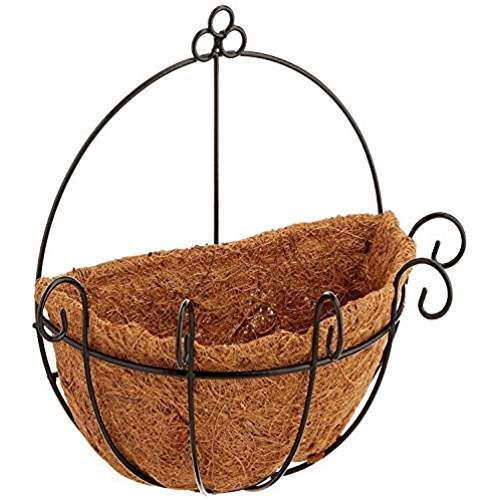 Joanna S Home Metal Wall Planter Hanging Basket With Coco Coir Liner Half Round Plant Holder Flower Pot Han Wall Planter Flower Pot Hanger Hanging Wall Baskets