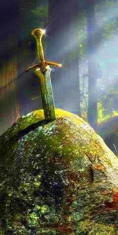 Excalibur es la legendaria espada del Rey Arturo, a veces atribuido con poderes mágicos o asociadas a la legítima soberanía de Gran Bretaña. A veces Excalibur y la espada en la piedra (la prueba del linaje de Arthur) se dice que son la misma arma, pero en la mayoría de las versiones que se consideran por separado. La espada se asoció con la leyenda artúrica muy temprano. En Gales, la espada se llama Caledfwlch.