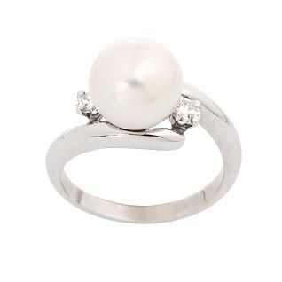 PEREGRINA - Bague Serpentine Or Blanc 18k, Perle Blanche Akoya 6/7 mm et Diamants 0,10ct