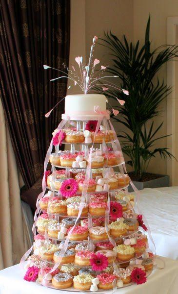 Doughnut wedding cake tower  The prettiest doughnut wedding cake we've seen!