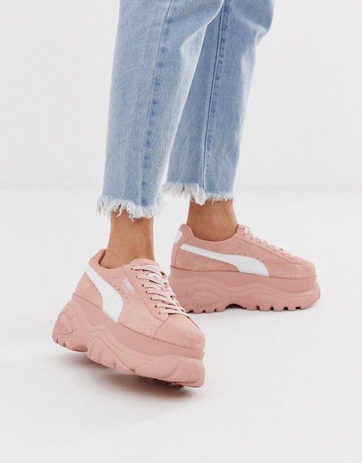 Puma X Buffalo suede pink platform trainers | Puma shoes