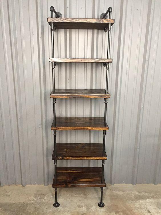 Deep Shelf Bookcase, Wood Shelf, Media Shelf, Deep shelving unit, Shelves, Pipe Shelves, Deep Shelves, Book Shelf, Industrial Furniture