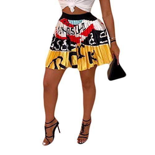 Aibbmin Mini Faldas Plisadas Con Cintura Elastica Estampada Con Dibujos Animados Para Mujer Amarillo Medium Mini Falda Plisada Faldas Plisadas Ropa