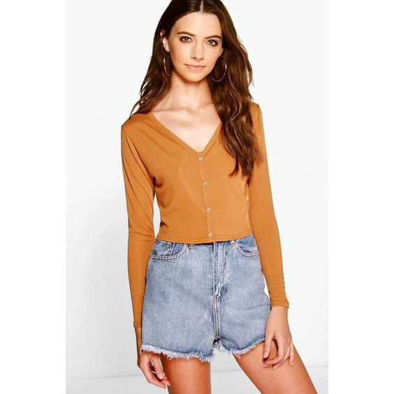 Boohoo Emma V Neck Rib Button Up Crop ($16) ❤ liked on Polyvore featuring tops, sweaters, camel, ribbed turtleneck, v neck sweater, nordic sweater, turtleneck sweater and ribbed v neck sweater