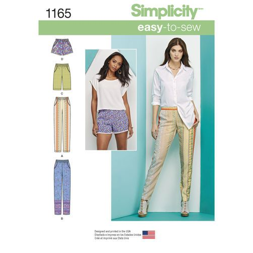 Simplicity Pattern 1165 Misses' Pull-on Pants, Long or Short Shorts: