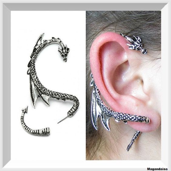 Game of thrones dragon ear cuff ear wrap dragon ear cuff silver plated antique silver pierced - Game of thrones dragon ear cuff ...