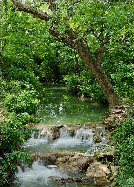 Double waterfall on Mill Creek at San Saba River Nature Park - San Saba, Texas