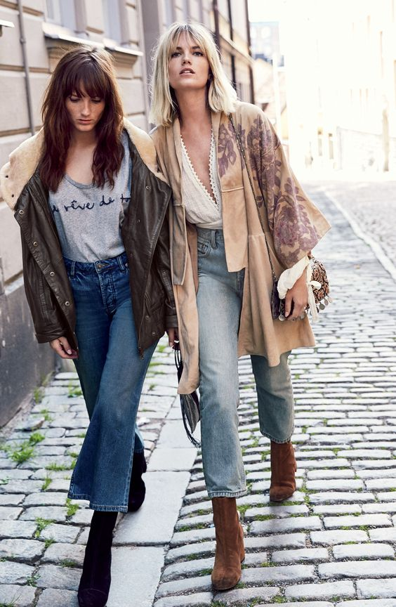Casual street style | fall layers | comfy tops with denim | bohemian inspiration |