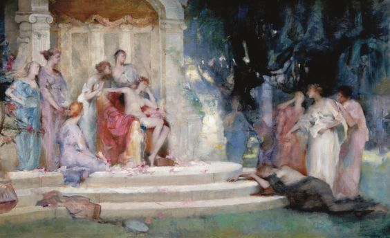 Henrietta Rae 1859-1928 SKETCH FOR PSYCHE BEFORE THE TEMPLE OF VENUS oil on canvas 47.5 by 76.8cm., 18½ by 30½in.