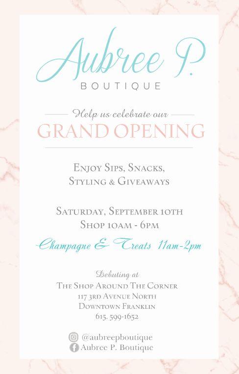 Grand Opening Invitation Ideas Beautiful Aubree P Boutique Gra Grand Opening Invitations Wedding Invitations Printable Templates Printable Invitation Templates