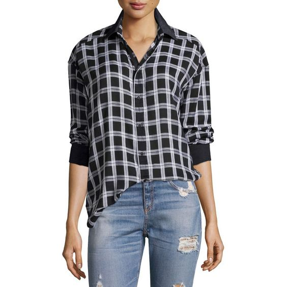 rag & bone/JEAN Plaid Boyfriend Shirt ($205) ❤ liked on Polyvore featuring tops, multi colors, boyfriend shirt, cotton plaid shirt, long sleeve tops, colorful shirts and oversized long sleeve shirts
