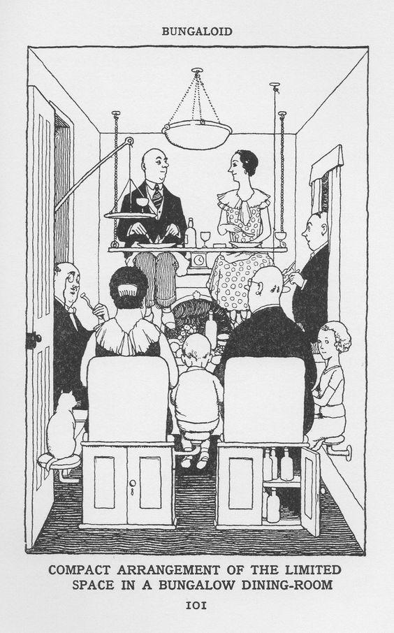 Familie auf Stahlrohrmöbel-Ensemble sitzen. Heath Robinson, how to live in a flat 1936