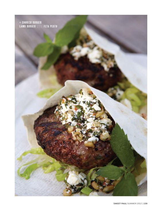 Sweet Paul Magazine - Summer 2012 - Page 138-139. Lamb burger with feta pesto