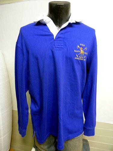 RALPH LAUREN POLO SHIRT SZ L L/S ROYAL BLUE CLASSIC RUGBY W/ 1967 POLO LOGO