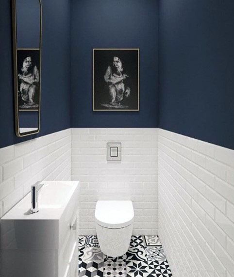 Navy Bathroom With Patterned Flooring Blue Bathroom Decor Bathroom Trends Navy Bathroom Decor