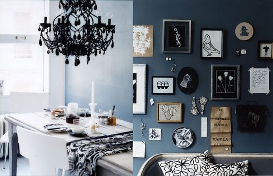 black chandelier. blue wall. black and blue together.