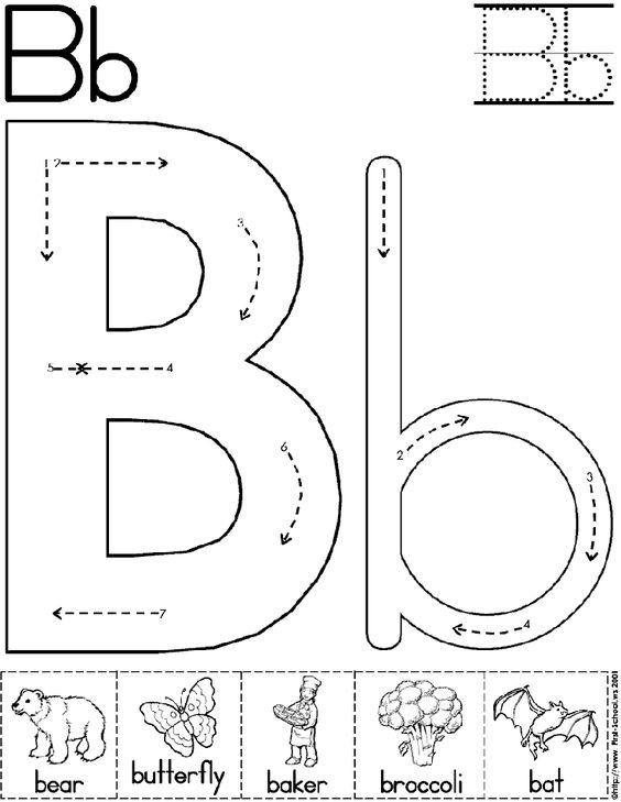 Alphabet Letter B Worksheet Preschool Printable Activity