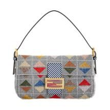 Fendi Triangle Pattern Beaded Baguette Bag