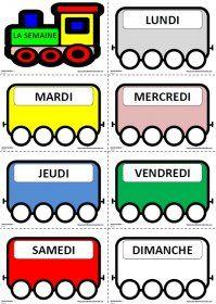 Le train des jours de la semaine Le petit train des jours de la semaine à utiliser toute l'année avec les élèves du cycle 1 pour mémoriser le nom puis la graphie des jours.
