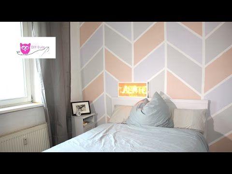 Wand streichen: bunt im Chevron Muster - DIY Eule - YouTube ...