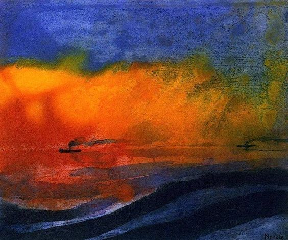 The sea and two steamers with red sunset sky Emil Nolde