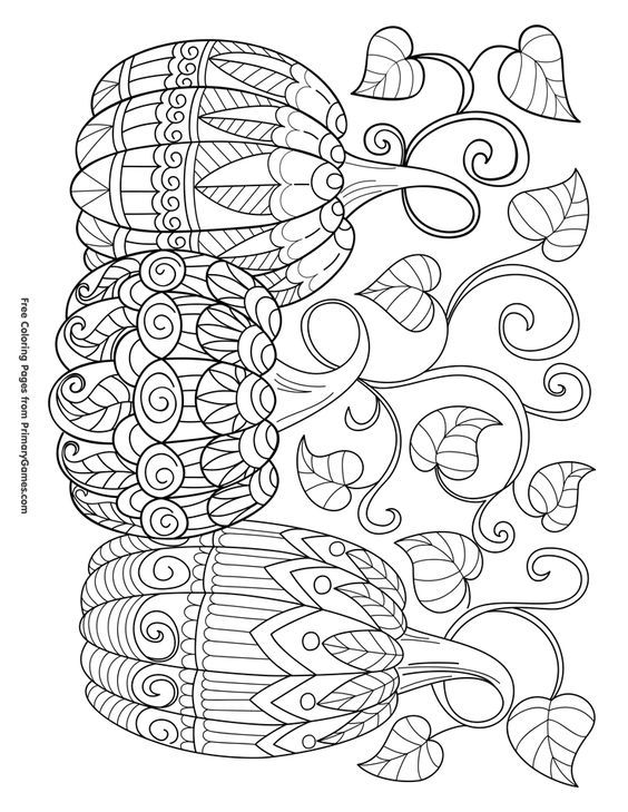 Three Pumpkins Coloring Page Free Printable Ebook Fall