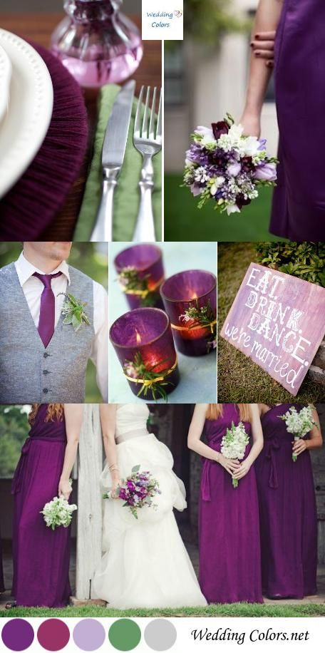 Purple Plum Sage Green Wedding Palette Wedding Colors