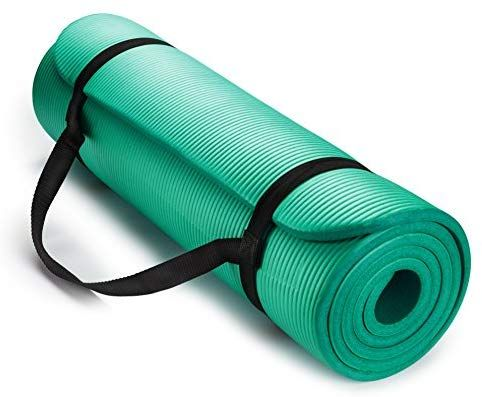 Amazon Com Hemingweigh 1 2 Inch Extra Thick High Density Exercise Yoga Mat With Carrying Strap For Exercise Yoga And Pi Yoga Mat Yoga Fitness How To Do Yoga