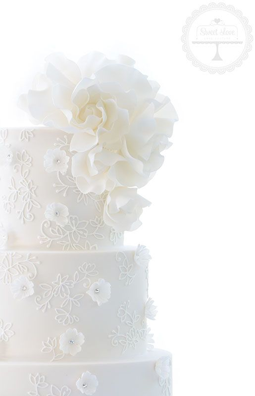 Beautiful piped detail and sugar roses for this ultra romantic wedding cake