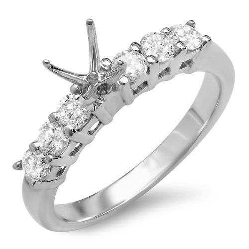 0.50 Carat (Ctw) 14k White Gold Round Diamond 7 Stone Look Semi Mount Ladies Engagement Bridal Ring (No Center Stone) DazzlingRock Collection, http://www.amazon.com/dp/B006YWAI1E/ref=cm_sw_r_pi_dp_s66Qqb0BFSQDC