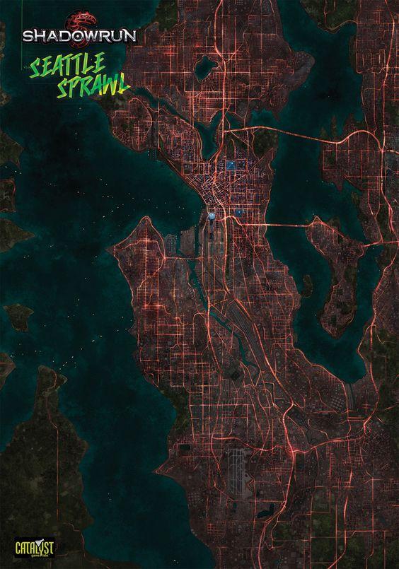 Map Of Seattle In Shadowrun  Cyberpunk Shadowrun Art