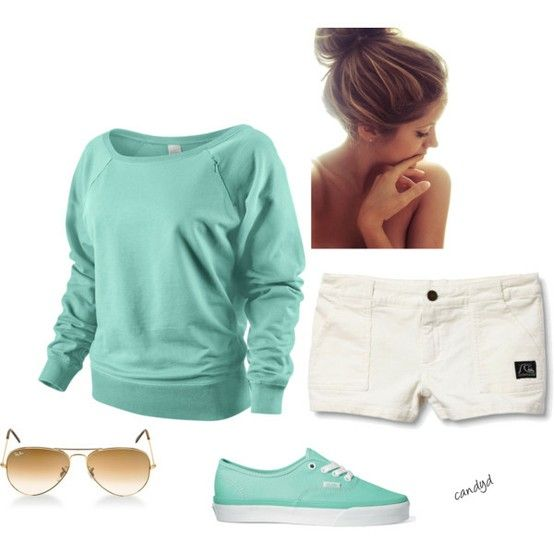 sweatshirts and shorts. Love these colors.