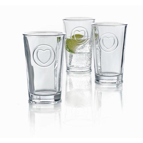 Gläser-Set, 6-tlg., Herzapplikation Vorderansicht