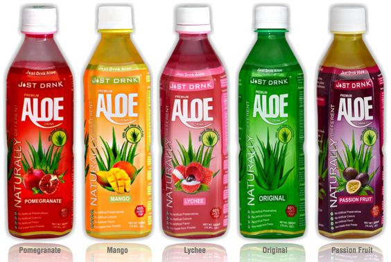 Just Drink Aloe Vera Drinks.  Available in 6 Fresh Fruit Flavours. The best tasting Aloe Vera drinks. Using Real Aloe Vera juice and pulp, NOT MADE FROM POWDER like other Aloe Vera Drinks. Using Real fruit juice.  No Artificial Colours No Artificial Preservatives Gluten Free Vegan Friendly Great Tasting