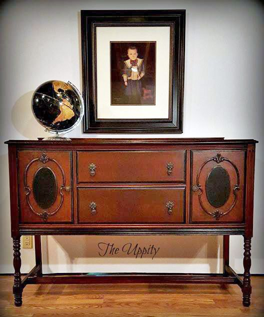 """The Uppity refinished this handsome buffet named """"Evan"""" with General Finishes Candlelight Gel Stain and flat High Performance Topcoat."""