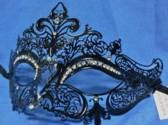 Laser Cut Metal Venetian Mask Black with Rhinestone