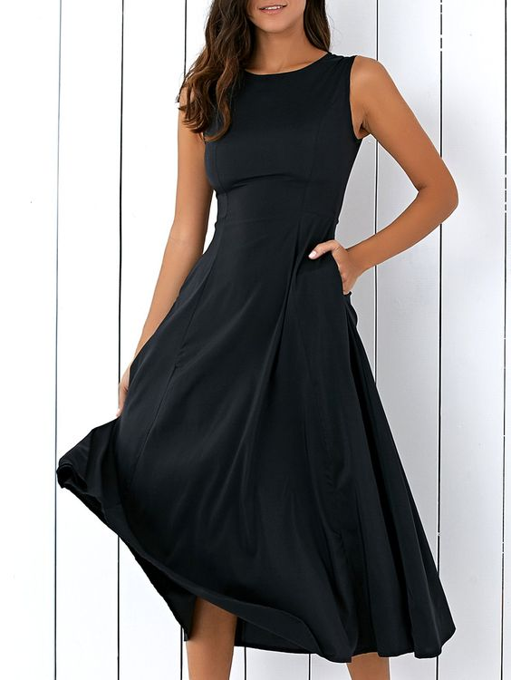 $9.66 Casual Round Neck Sleeveless Loose Fitting Women's Midi Dress