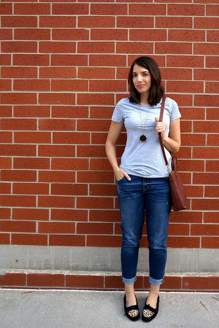 Back to Basics | Style On Target | gray tee, boyfriend jeans, mini transport tote Madewell, leopard moccasins
