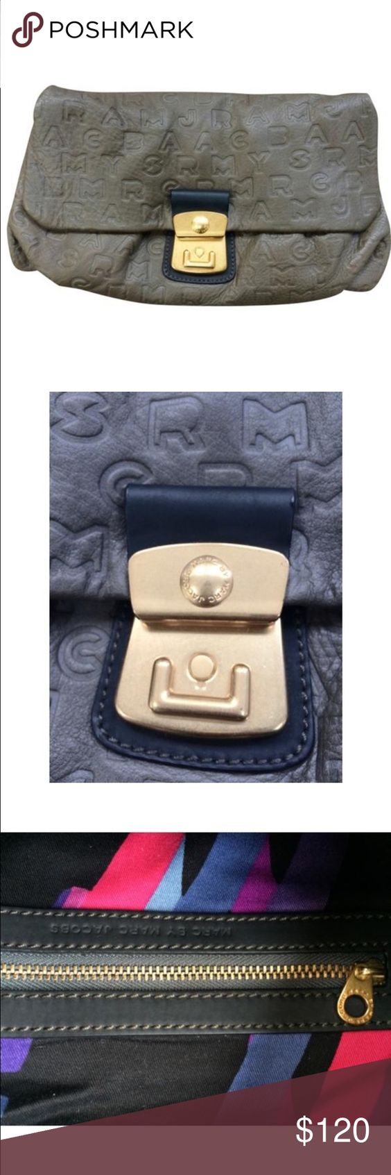 Marc jacobs grey leather clutch Excellent condition Marc Jacobs Bags Clutches & Wristlets