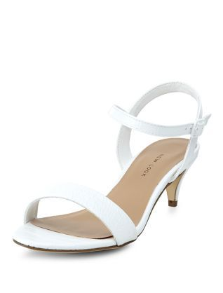 Wide Fit White Snakeskin Ankle Strap Kitten Heels | New Look