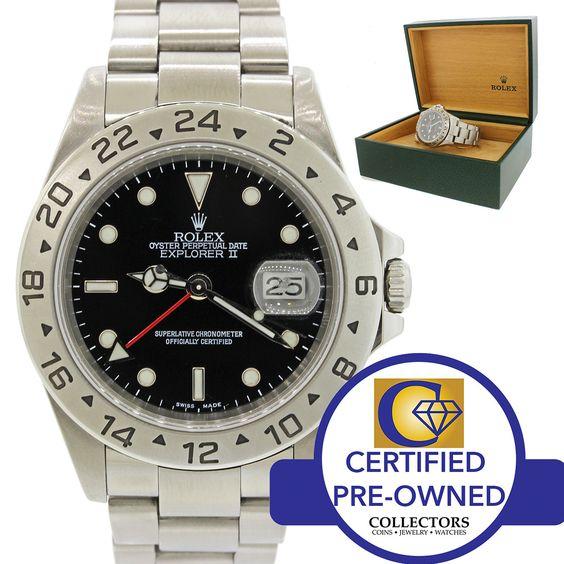 Rolex Explorer II 16570 Stainless Steel Black GMT Dial 40mm Sport Watch w/ Box