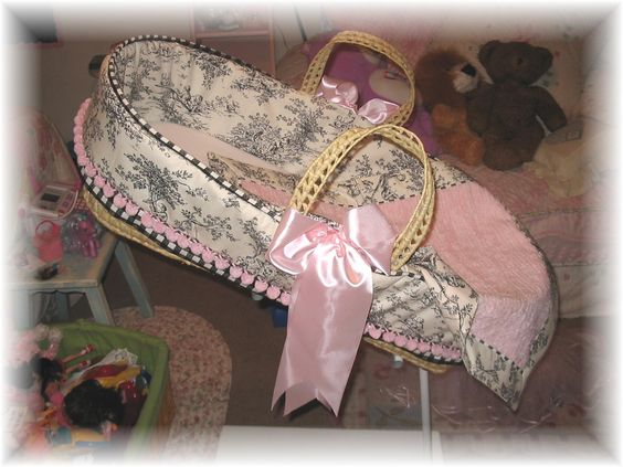 Pink and Black Toile Moses Basket