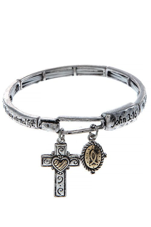 JOHN 3 16 CROSS CHARM STRETCH BRACELET