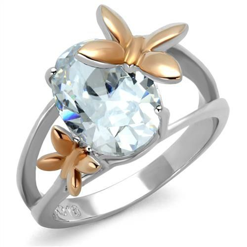 Seven Stone CZ Engagement Ring Rose Gold Plated Stainless Steel TK316