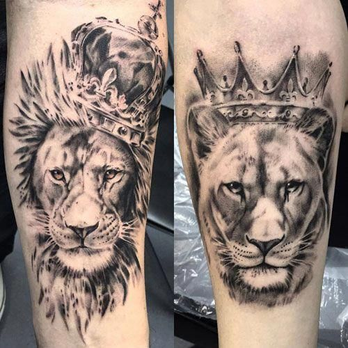 King And Queen Lion Tattoos Best Tattoo Ideas And Designs For Couples Cute Matching Tattoos For King An Queen Tattoo Couples Lion Tattoo Girlfriend Tattoos