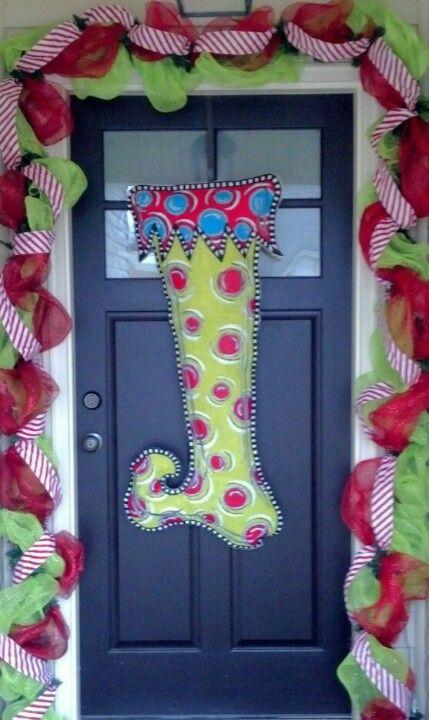 Burlap stocking christmas door decoration door for Decorating with burlap ribbon for christmas
