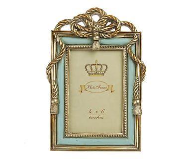 Cornice portafoto in poliresina azzurro e oro, 16x26x2 cm