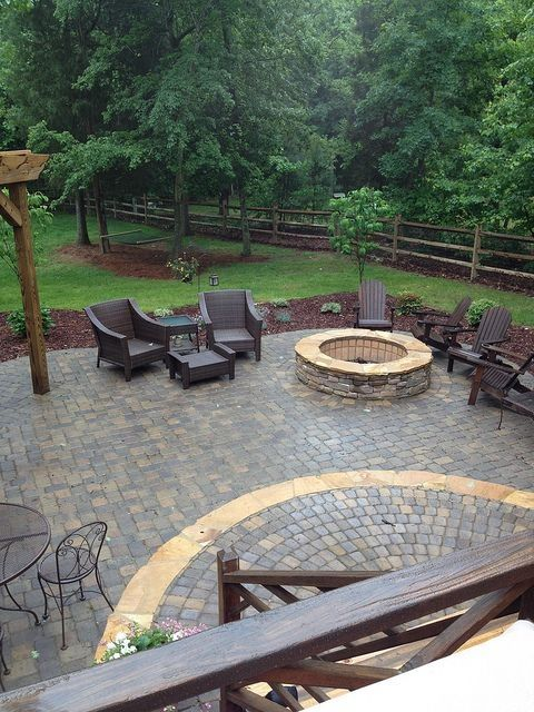 Patio ideas patio and stone patios on pinterest for Fire pit ideas outdoor living